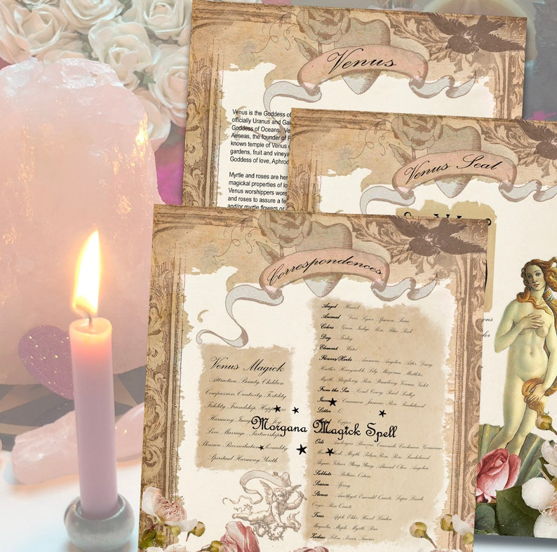 VENUS GODDESS of L0VE Wicca Witchcraft Book of Shadows 3 Pages - Instant  Download