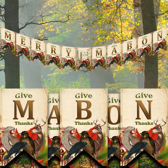 Merry Mabon Sabbat Banner, Printable Paper Banner