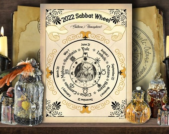 2022 WHEEL of the YEAR | Southern Hemisphere | Wicca Sabbat Planner | Printable Page for Journal | Sabbat Dates | Sabbat Calendar Download