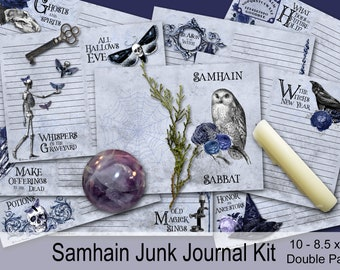 SAMHAIN JUNK JOURNAL Kit |  10 Printable Pages | Samhain Pintables | Sabbat Journal  Pages | Samhain Journaling Pages | Samhain Wicca Sabbat
