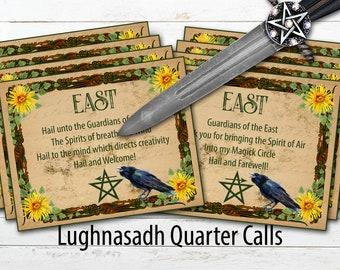LUGHNASADH QUARTER CALLS | 8 Printable Quarter Cards | Call and Release the Quarters | Lammas Magick Circle Casting | Instant Download