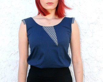Organic Women's Blue Top, Vegan Clothing, Unique, Singlet, Tank, Eco Fashion,  Sustainable, Organic Cotton, Ethical Fashion, Japanese Style.