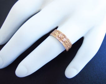 Antqiue cigar band, Vintage gold band, gold stacking ring, Estate jewelry, Two Girls Gems