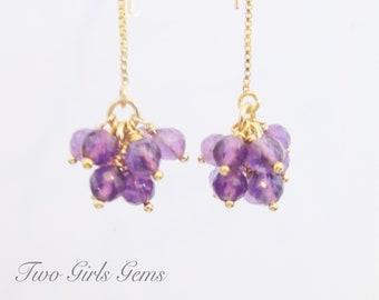 Amethyst pompom earrings, gold threader earrings with gemstone cluster, Dangling Amethyst, February birthday gift, statement Earrings