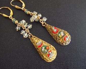 Antique Micro Mosaic Earrings, Handmade gifts, Collectable Italian Micromosaic Dangling Earrings, pietra dura earrings