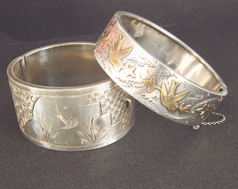Wide Sterling bangle, Antique Victorian Jewelry, Sparrow, English Silver, Two Girls GEMS