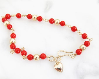 Gold Filled beaded bracelet with Coral beads, natural salmon colored coral jewelry, Stacking bracelet