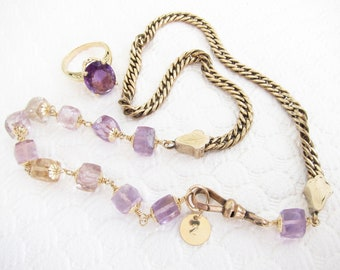 Antique gold necklace, Square Cut Amethyst Gems, Fine Estate jewelry, 5mm flat cuban chain,   Two Girls Gems