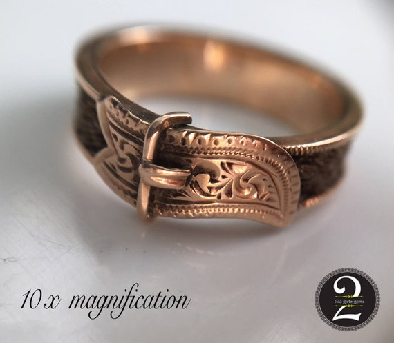 Victorian buckle ring, Victorian ring, Antique gol
