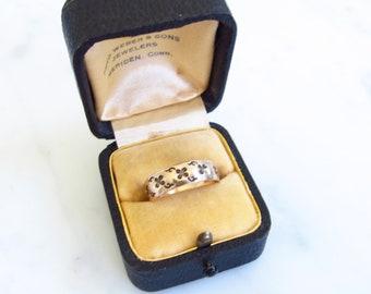 Victorian gold ring, 6mm wide gold cigar band, vintage wedding band, 10k gold, Two Girls Gems