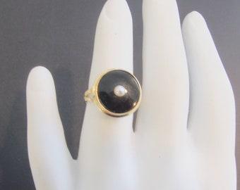 14k gold onyx ring, fine estate jewelry, Two Girls Gems, vintage signet ring, intaglio