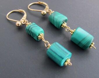 Genuine Malachite earrings, 14k gold fill lever back earrings,  Barrel Malachite Earrings, Green Malachite, OOAK