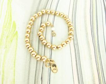 5mm Gold Filled ball bracelet, beaded gold stacking bracelet, Two Girls Gems,