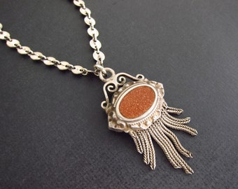 Antique Fob pendant, Sterling Silver Disc Chain with Antique charm, Italian Goldstone pendant, Two Girls Gems