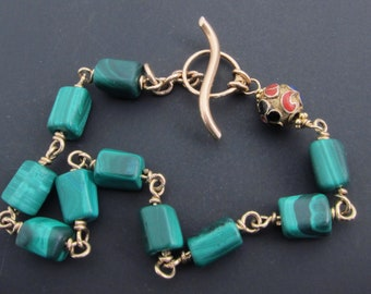 Malachite bracelet, unusual antique bracelet, green gemstone, Square cut gemstone bracelet,  Two Girls Gems,