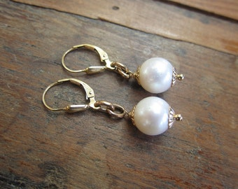Antique Gold-filled Watch Fob Links and Pearl Dangling Earrings, Antique Earrings, Wedding Earrings, Two Girls Gems