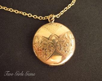 Art Deco, Antique Locket, Edwardian, round gold locket, picture locket, Fine personalized jewelry, Two Girls Gems