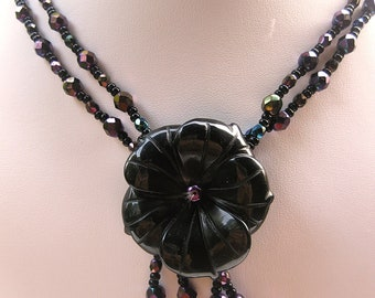 Beautiful elegant necklace in iris.