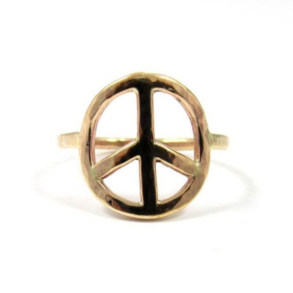 Peace Sign Ring Gold Hammered Rings Handmade Maui Hawaii Etsy