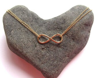 Gold Infinity Necklace, Hammered, Infinity Jewelry, Anniversary,  Gift Idea for Her, Bridesmaids, Friendship, Handmade Maui, Spring Fashion