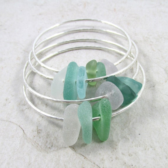 925 Sterling Silver Polished Green Pink Sea Glass Bangle Bracelet