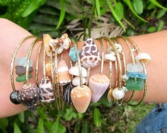 Gold Shell Bangle, Hawaii Beach Jewelry, Stacking Bangles, Hawaiian Shells, Surfer Girl Gift, Handmade Maui, Hammered Bracelet, Boho Mermaid