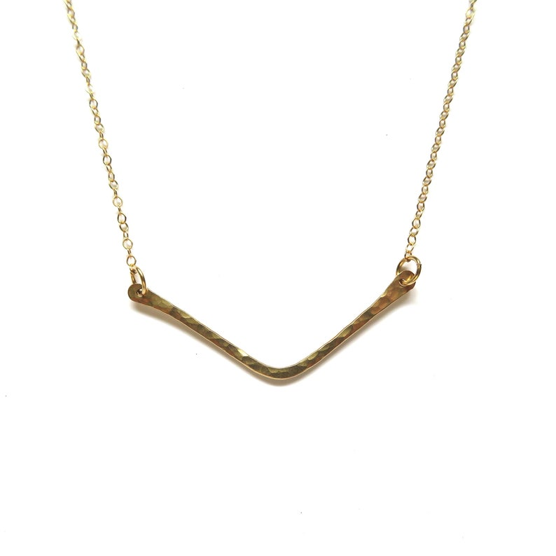 302d6f899 Chevron Gold Hammered Bar Necklace Handmade Maui Hawaii