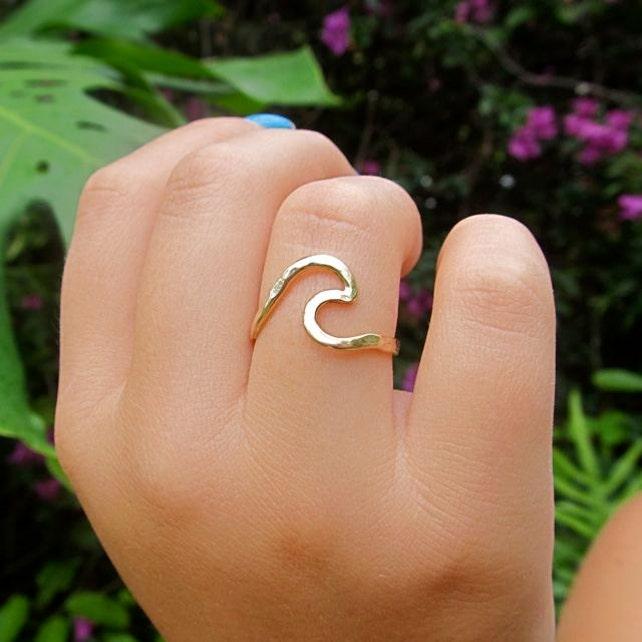 Welle Ring Ring Gold Welle Ocean Wave Ring handgefertigte | Etsy