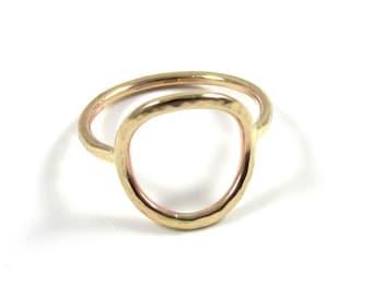 Open Circle Ring, Gold Hammered, Everlasting Unity Infinity Universal Symbol, Minimalist, Handmade Maui Jewelry,  Gift, Boho, Spring Fashion