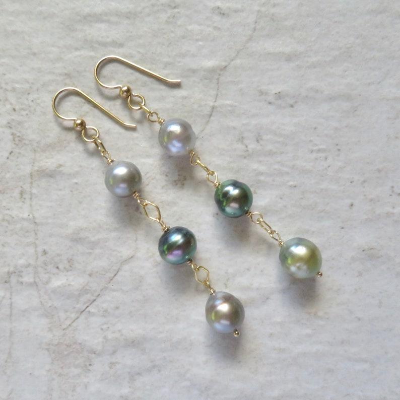 Elegant Mother/'s Day Gift Idea Gold Dangle Handmade Hawaii Bridal Wedding Fashion Triple Pearl Earrings Genuine Multi Colored Pearls