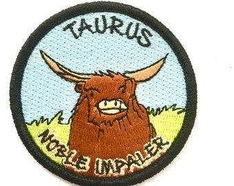 Taurus Bull Zodiac Astrology Sign Iron on Patch Free Shipping B