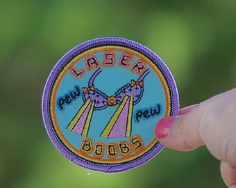 Laser Boobs Patch FREE Shipping (US) nasty woman Patch Pew Pew for girlfriend birthday gift femininist patch heat sealed ironon iron on