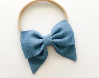 Chambray Sailor Bow Headband - Chambray Petite Sailor Bow Headband or Clip - Chambray Denim Colored Fabric Bow Headband - Sailor Bow Nylon