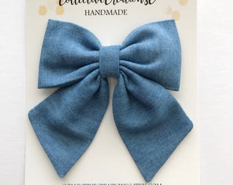 Blue Chambray Bow - Chambray Fabric Bow Clip - Oversized Sailor Bow - Light Blue Bow - Big Fabric Bow - Big Chambray Bow - Sailor Bow Clip