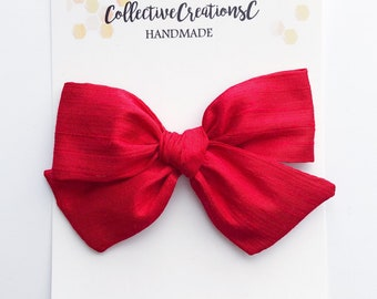 ed2a8ba41994 Ruby Red Silk Bow - Red Baby Bows - Silk Baby Headbands - Valentine Red Hair  Bows - Silk Bow Clips -Red Headbands and Bows - Nylon Headbands