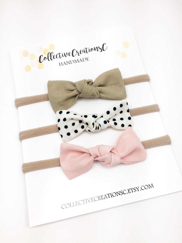 Small Baby Bow Set Knot Bow Headbands Small Knot Bows  17065209217
