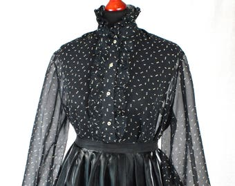 70s Sheer chiffon black and white polka dot ruffle blouse with high collar and bishop sleeves size M