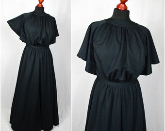 0c9d09f72702e 70s Boho gothic black draped Grecian style witchy butterfly sleeve maxi  dress size S/M