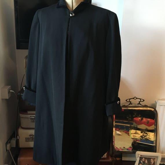 1940s Original Black Gabardine Swing Jacket M/L