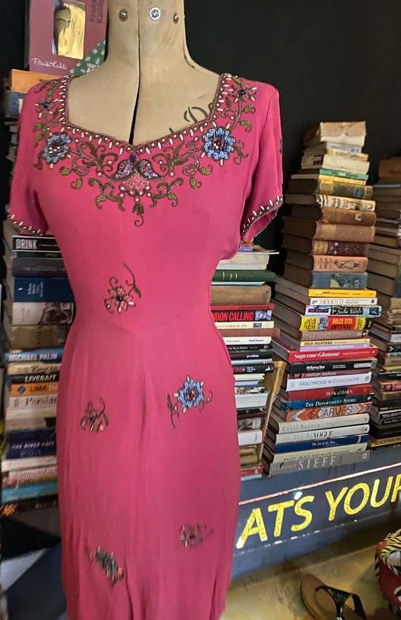 1930s/40s unusual Pink Beaded Cocktail Dress S