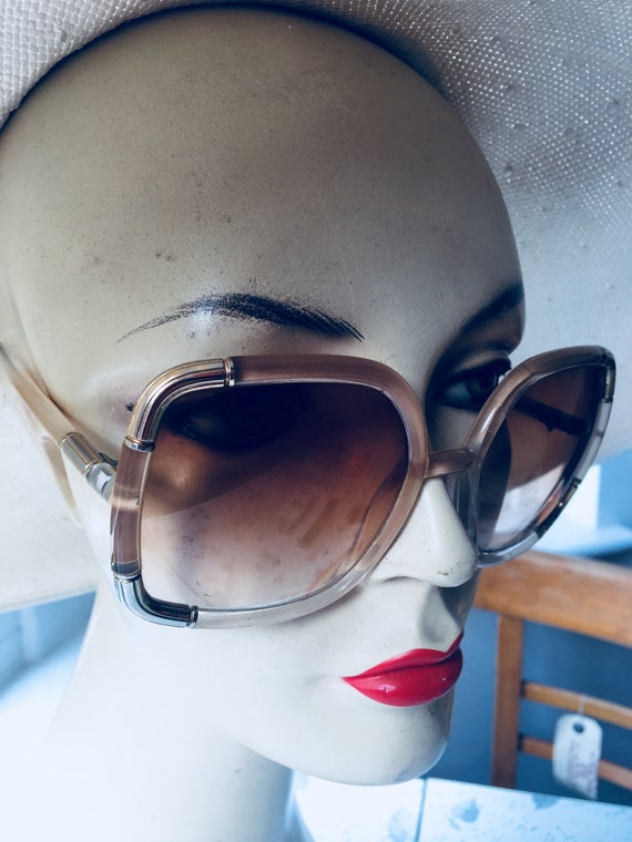 1970s Vintage Ted Lapidus Gold and Beige Sunglasse