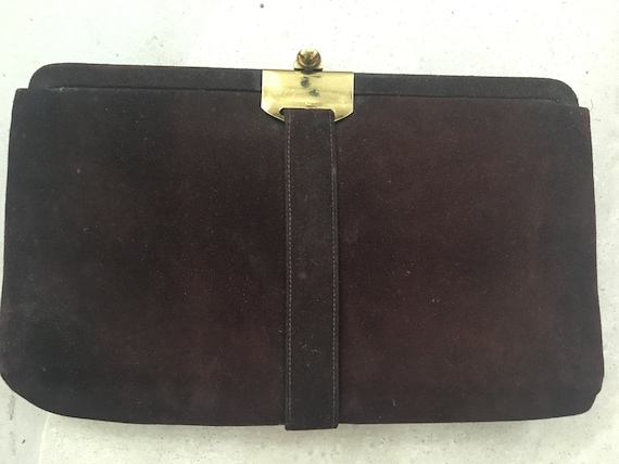 shop for newest cheap half price 1940 Chocolate Brown Suede Original Vintage Clutch Handbag with Gold Clasp
