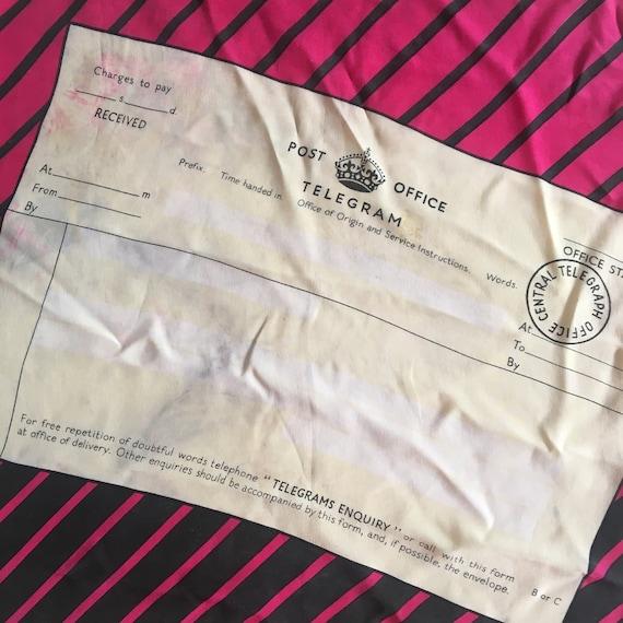 1950s Unique Novelty Postal Telegram Scarf Illustr