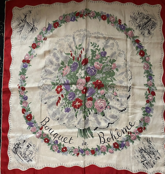1940s Charming Floral  Silk Scarf