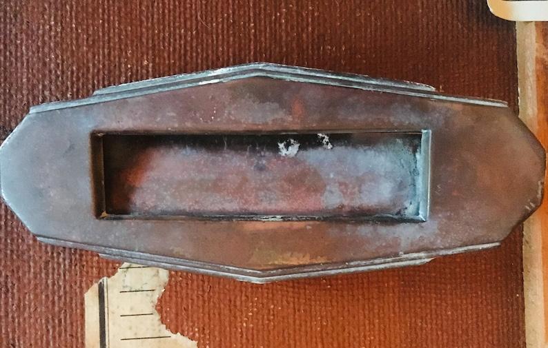 Vintage Small metal Art Nouveau Letter Box Charming !