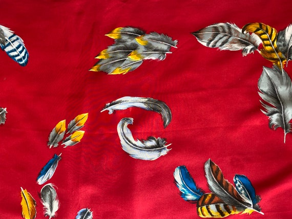 1950s Red Feather Novelty Design Silk Scarf