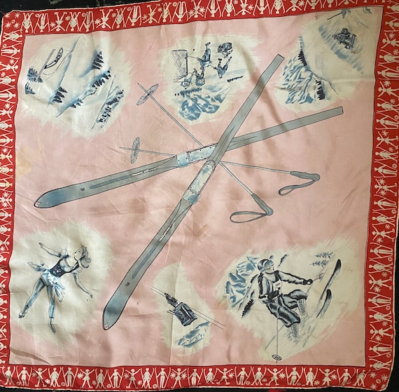 1950s Novelty Silk Fashion Scarf depicting Skis an