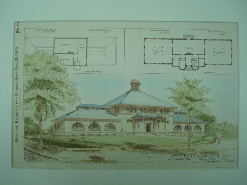 Rindge Industrial School Vintage Rotch /& Tilden Original Plan Massachusetts Hand Colored 1888 Cambridge Architects Architecture