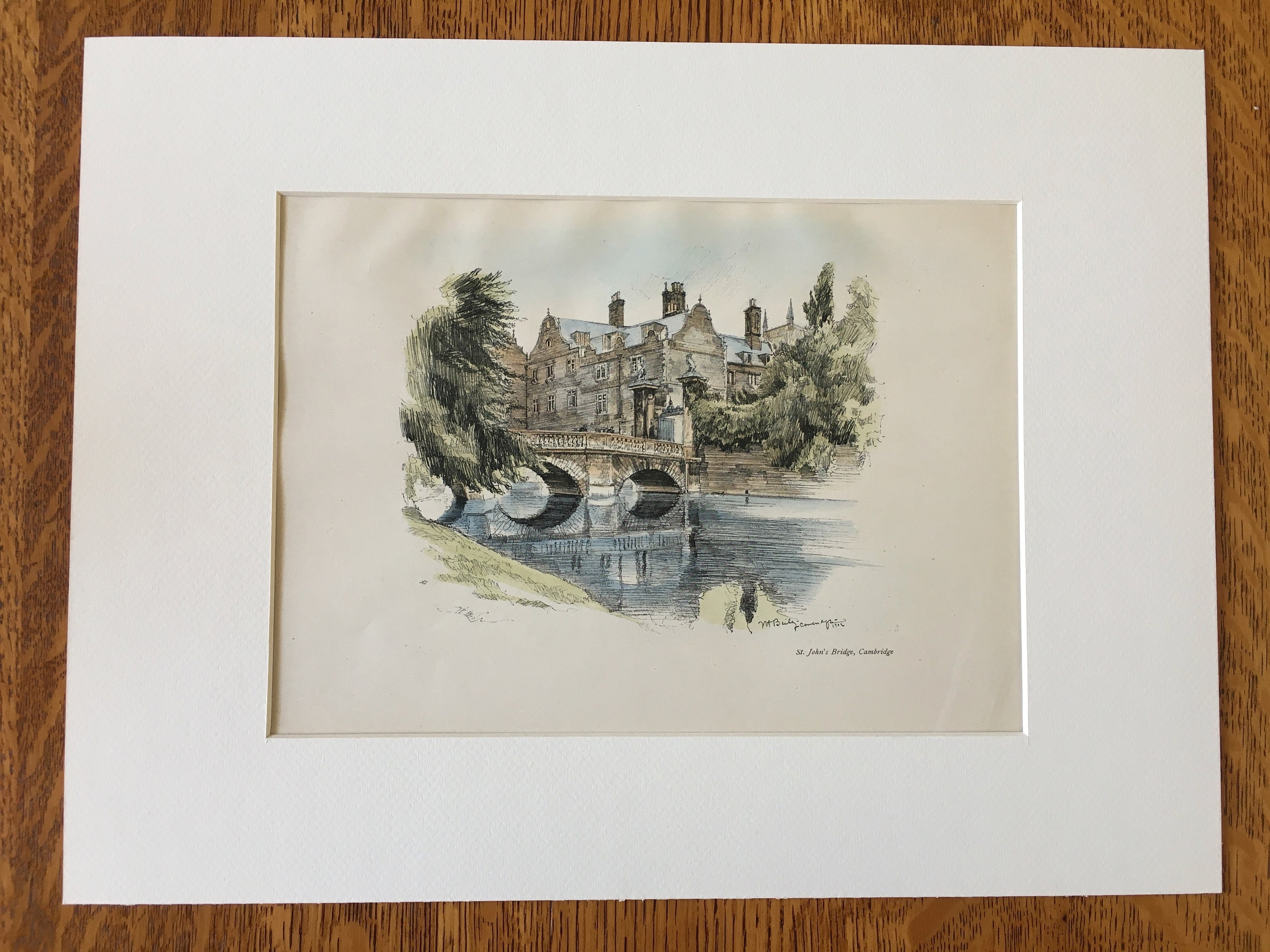 UK Architects Original Hand Colored Vintage Clock Tower Trinity College Architecture 1902 Drawn by Vernon Howe Bailey Cambridge