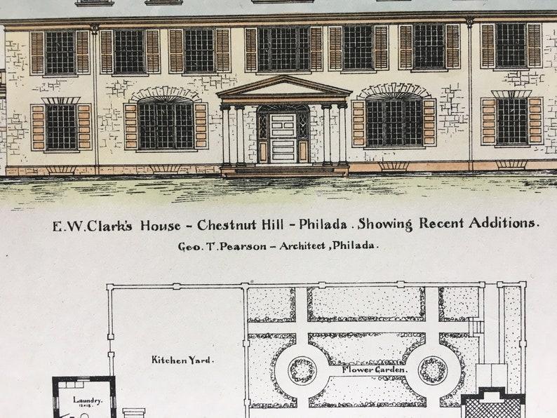 Philadelphia Chestnut Hill E W Clark House George Pearson Pennsylvania 1903 Architecture Vintage Original Hand Colored Architects